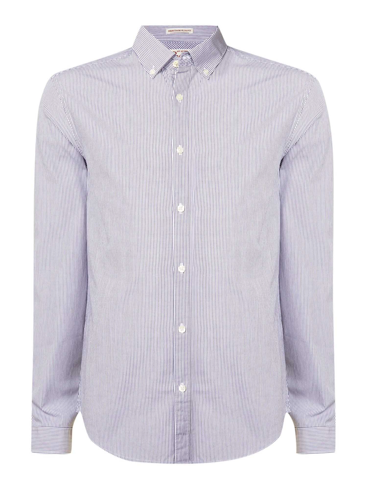 Original penguin button down collar heritage shirt in blue for Mens teal button down shirt