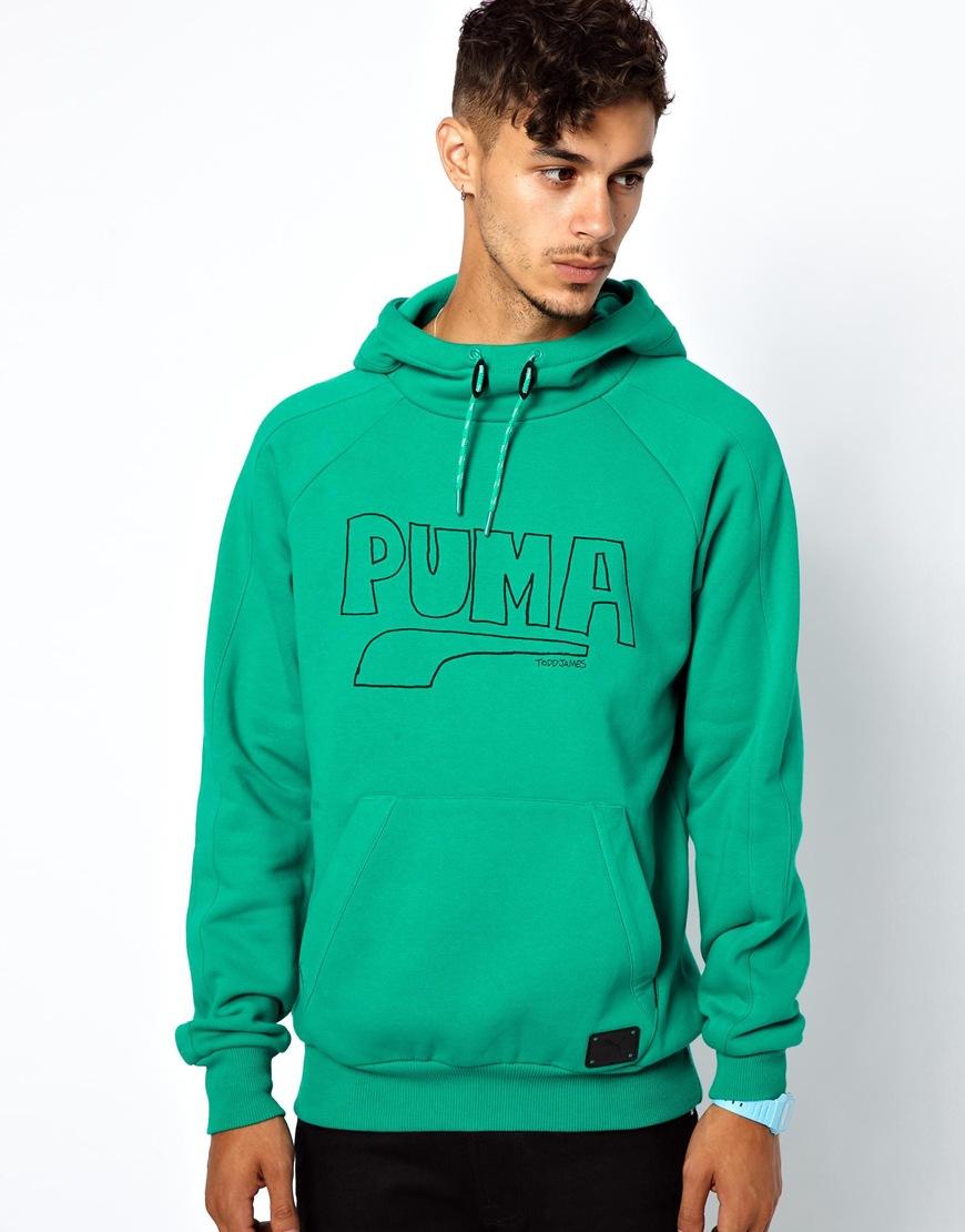 g star raw puma x todd james hoodie logo print in green. Black Bedroom Furniture Sets. Home Design Ideas