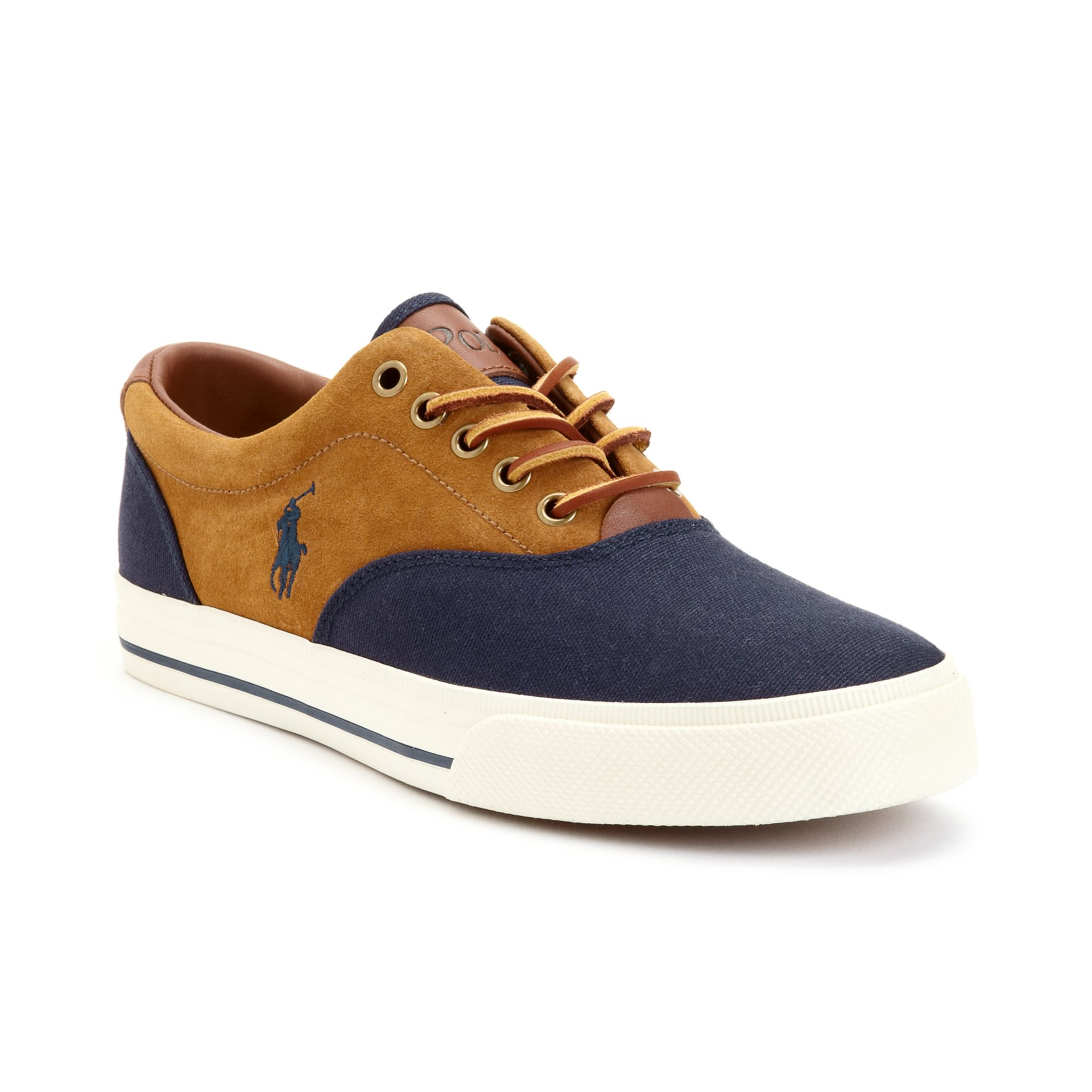 polo ralph lauren vaughn saddle sneakers in brown for men navy brown navy lyst. Black Bedroom Furniture Sets. Home Design Ideas