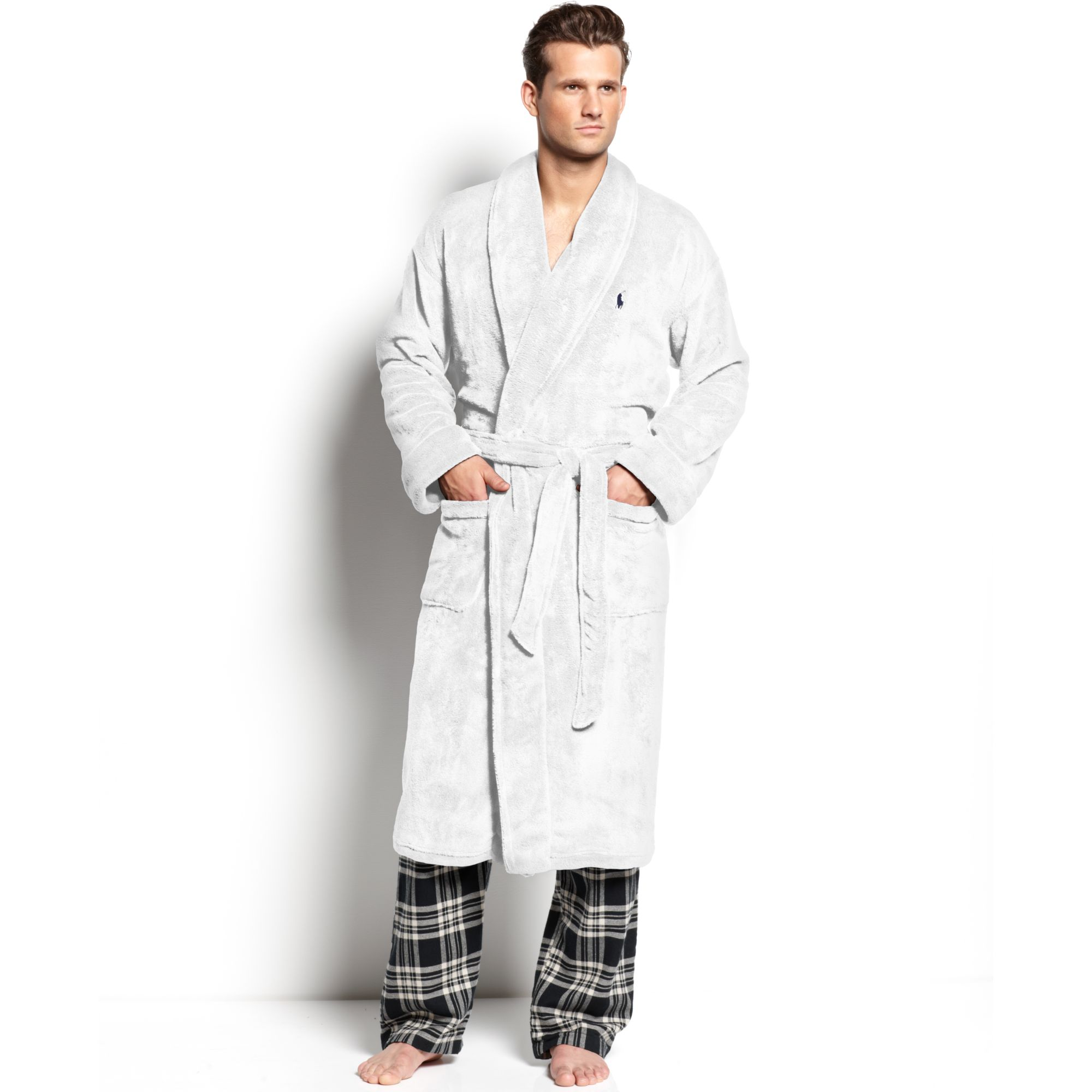 polo ralph lauren fleece shawl collar robe in white for men lyst. Black Bedroom Furniture Sets. Home Design Ideas