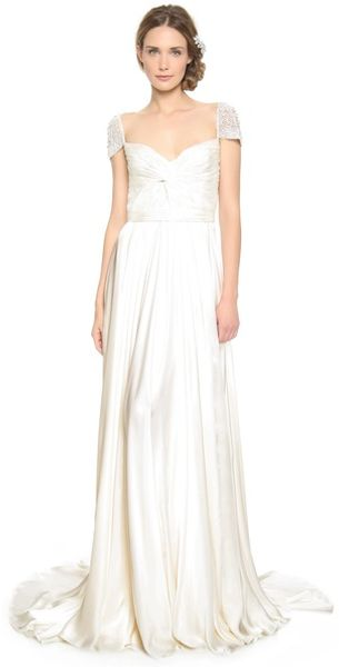 Reem Acra Twist Front Gown with Jeweled Sleeves - Lyst