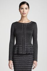 St. John Collection Trimmed Zip Peplum Jacket - Lyst