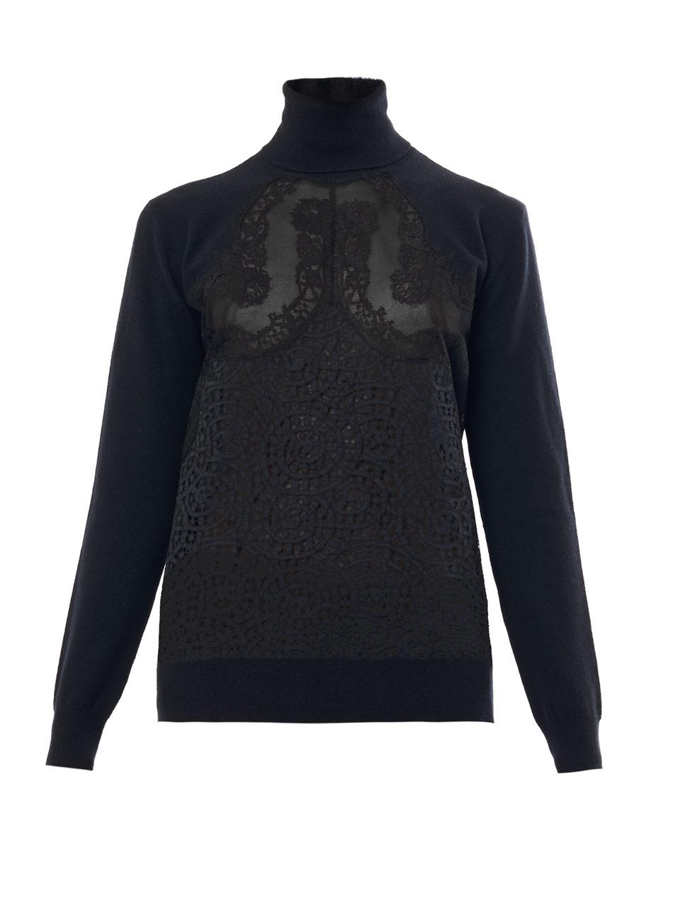 859989a32fd9fb Lyst - Stella McCartney Swarl Lace Rollneck Sweater in Black