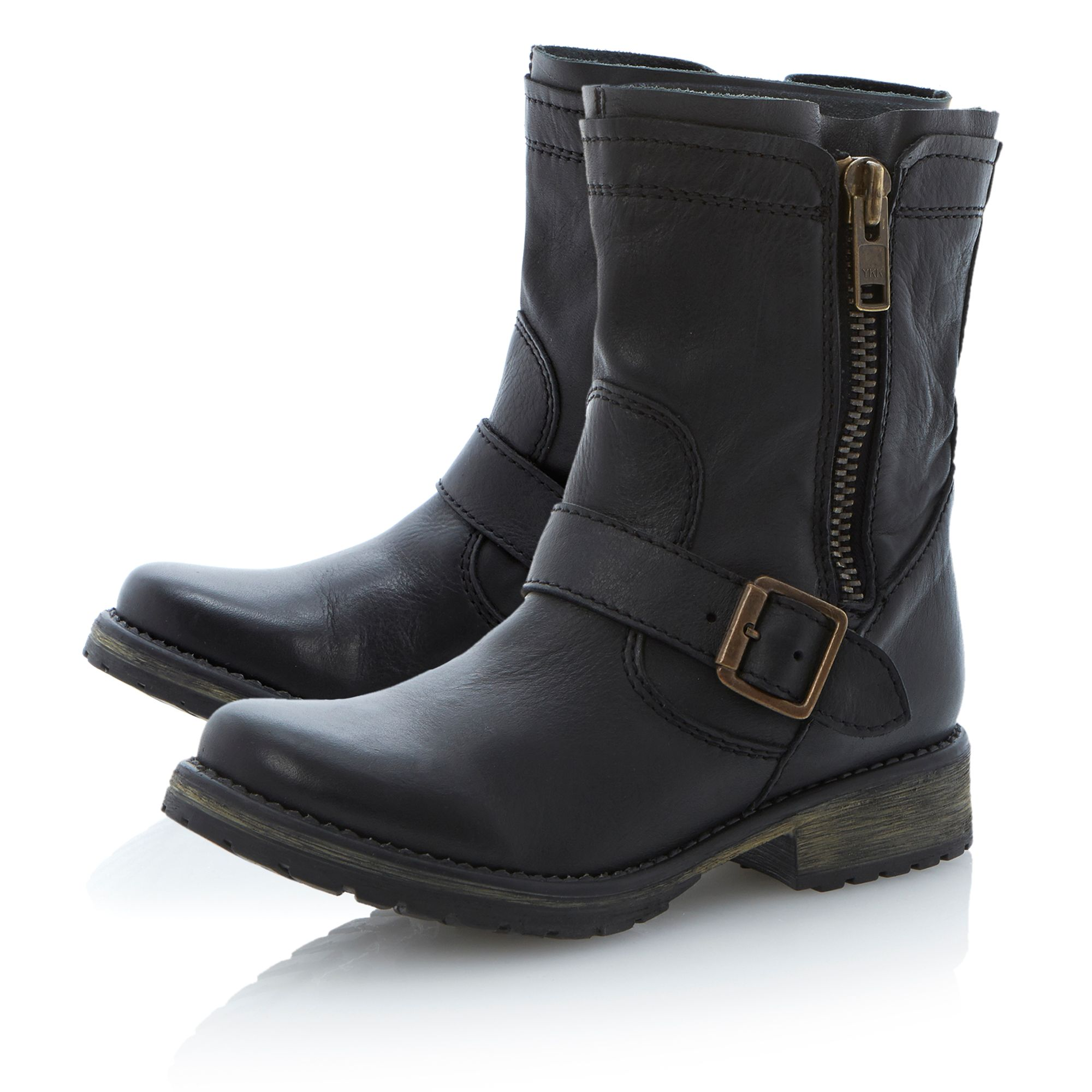steve madden forrt zipside cleated biker boots in black lyst. Black Bedroom Furniture Sets. Home Design Ideas