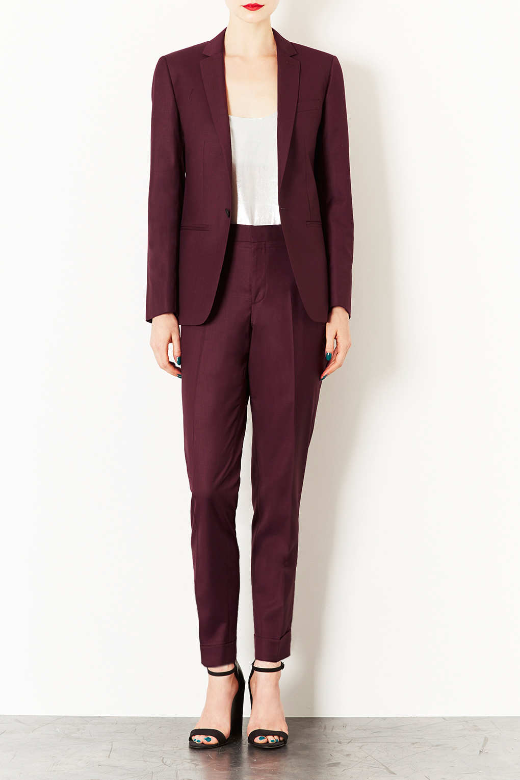 Lyst Topshop Modern Tailoring Tailored Suit Blazer In Red