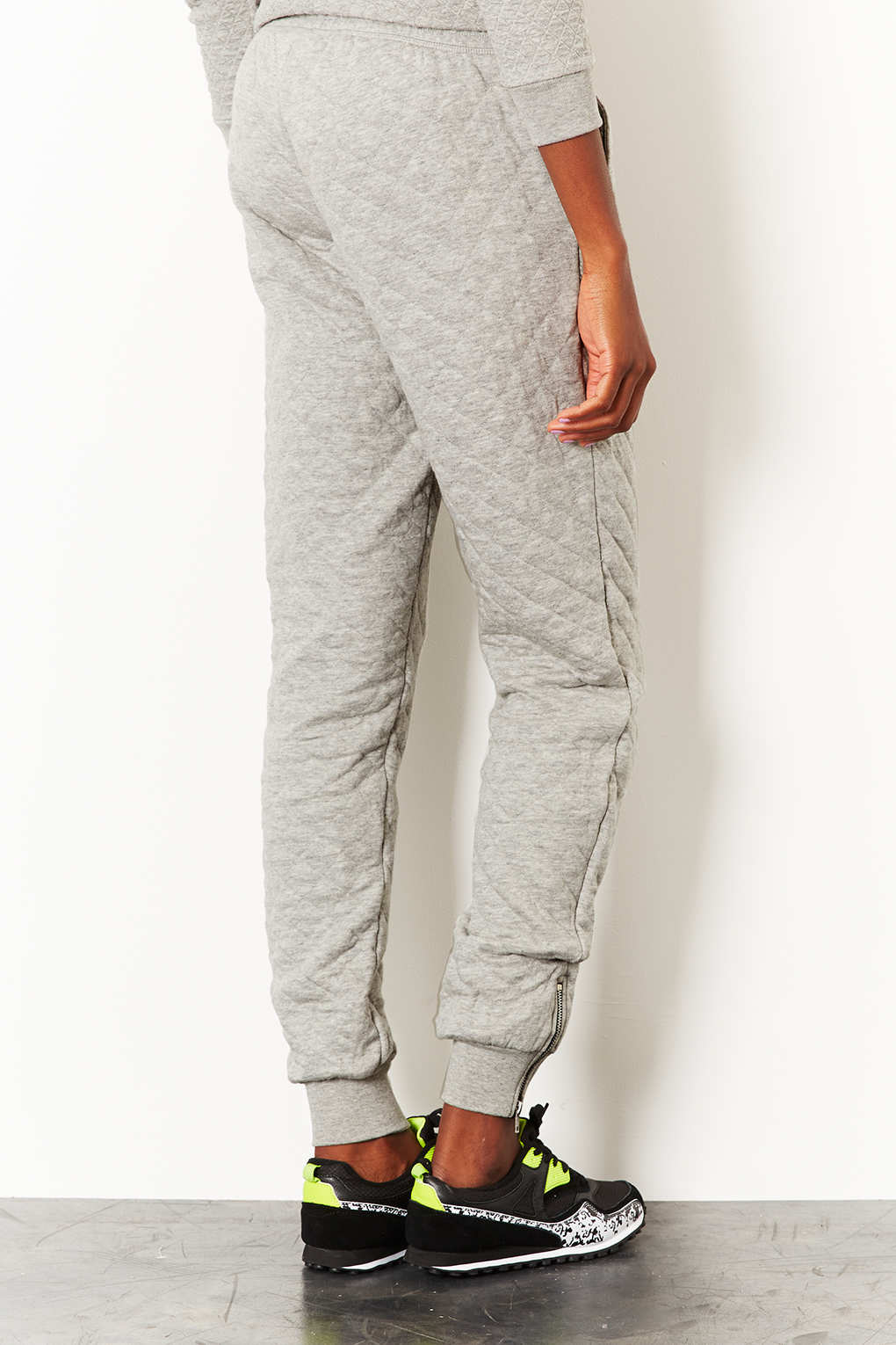 Lyst - Topshop Tall Cable Knit Quilted Jogger in Gray : mens quilted sweatpants - Adamdwight.com