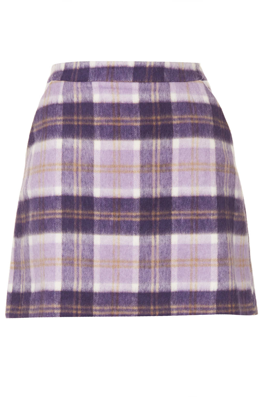 Topshop Lilac Check A Line Short Skirt in Purple | Lyst