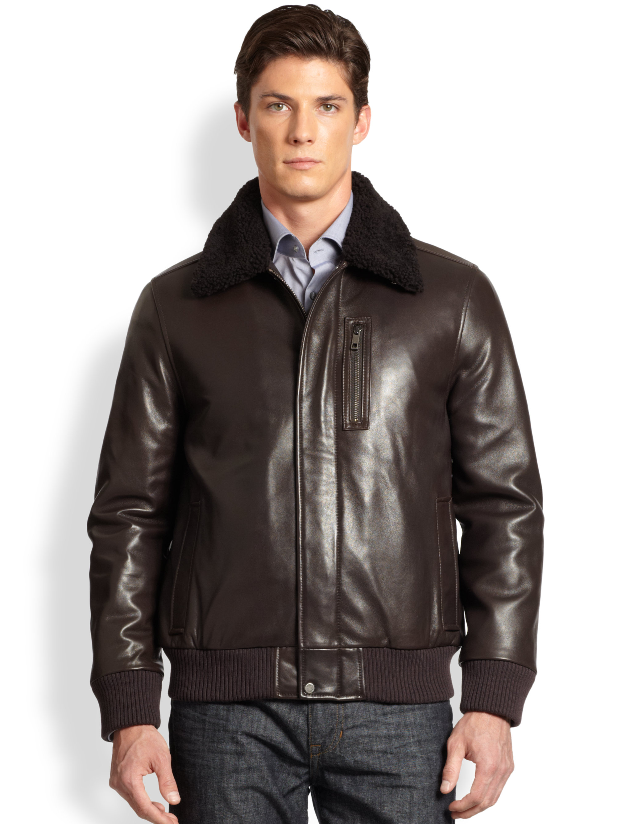Lyst Andrew Marc Shearling Leather Bomber Jacket In