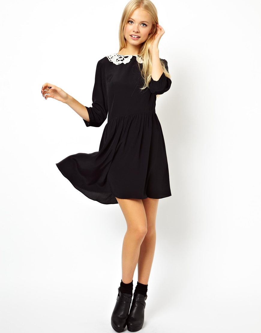 asos skater dress with crochet collar in black lyst