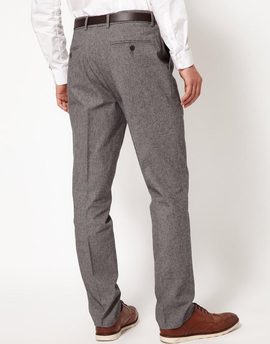 Asos Slim Fit Smart Pants In Twill in Gray for Men | Lyst