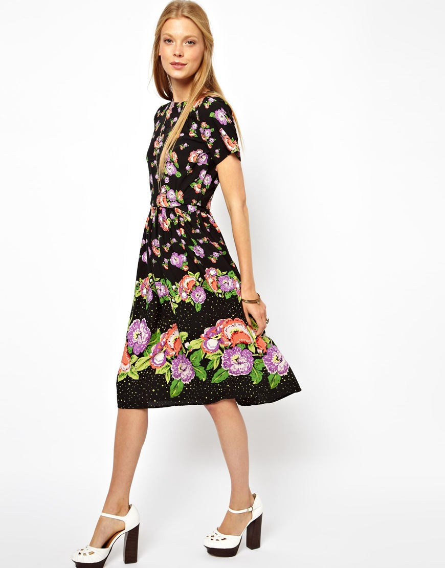 Lyst - Asos Skater Dress in Floral Print with Button