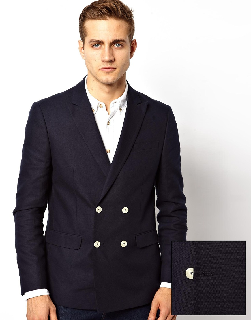 Asos Slim Fit Double Breasted Blazer with White Buttons in Black ...