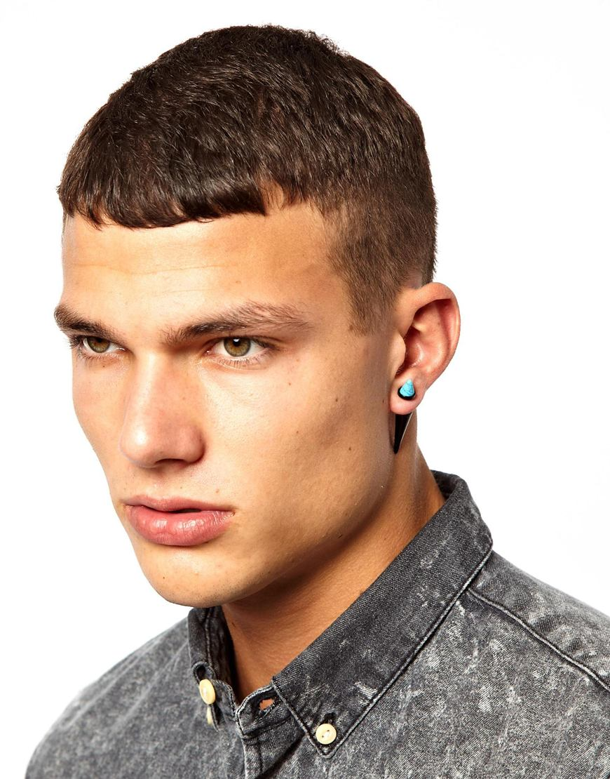 Lyst Asos Earrings With Turquoise Spike In Metallic For Men