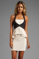 BCBGMAXAZRIA Peplum Dress in Cream - Lyst