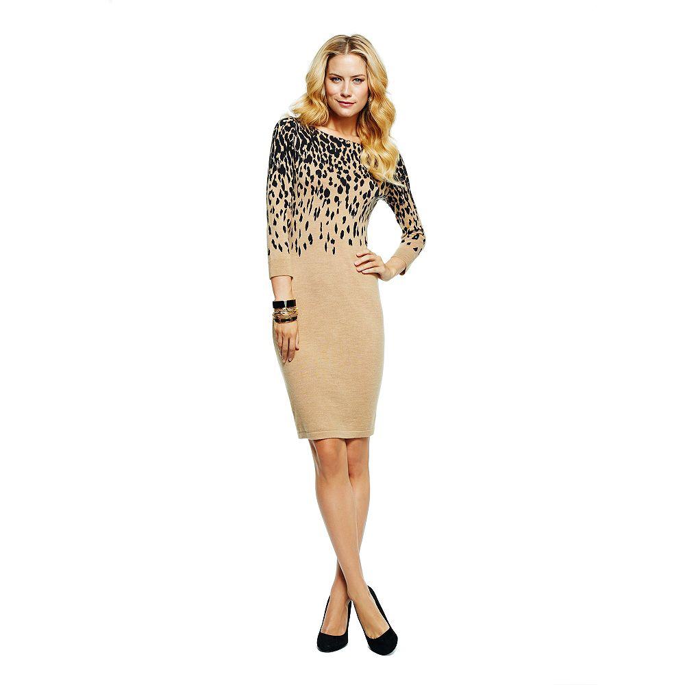 C Wonder Merino Wool Leopard Print Sweater Dress In Beige