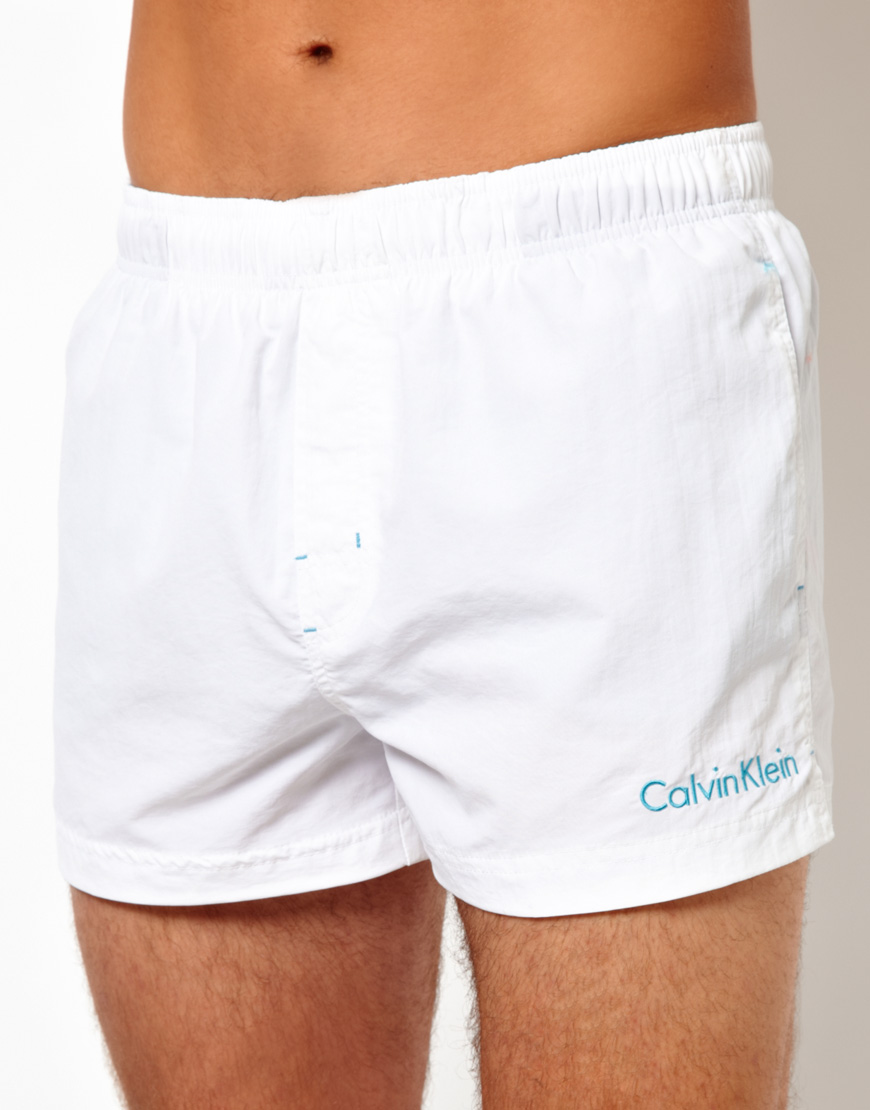 Calvin Klein Swim Shorts In White For Men Lyst