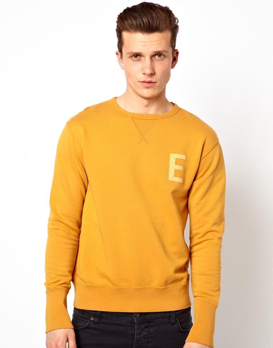 Edwin Sweatshirt Crew Neck College in Yellow for Men | Lyst