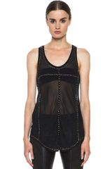 Isabel Marant Phil Embroidered Georgette Tank - Lyst
