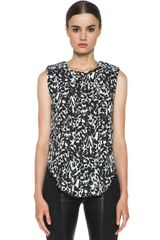 Isabel Marant Moss Leopard Charmeuse Sleeveless Top - Lyst