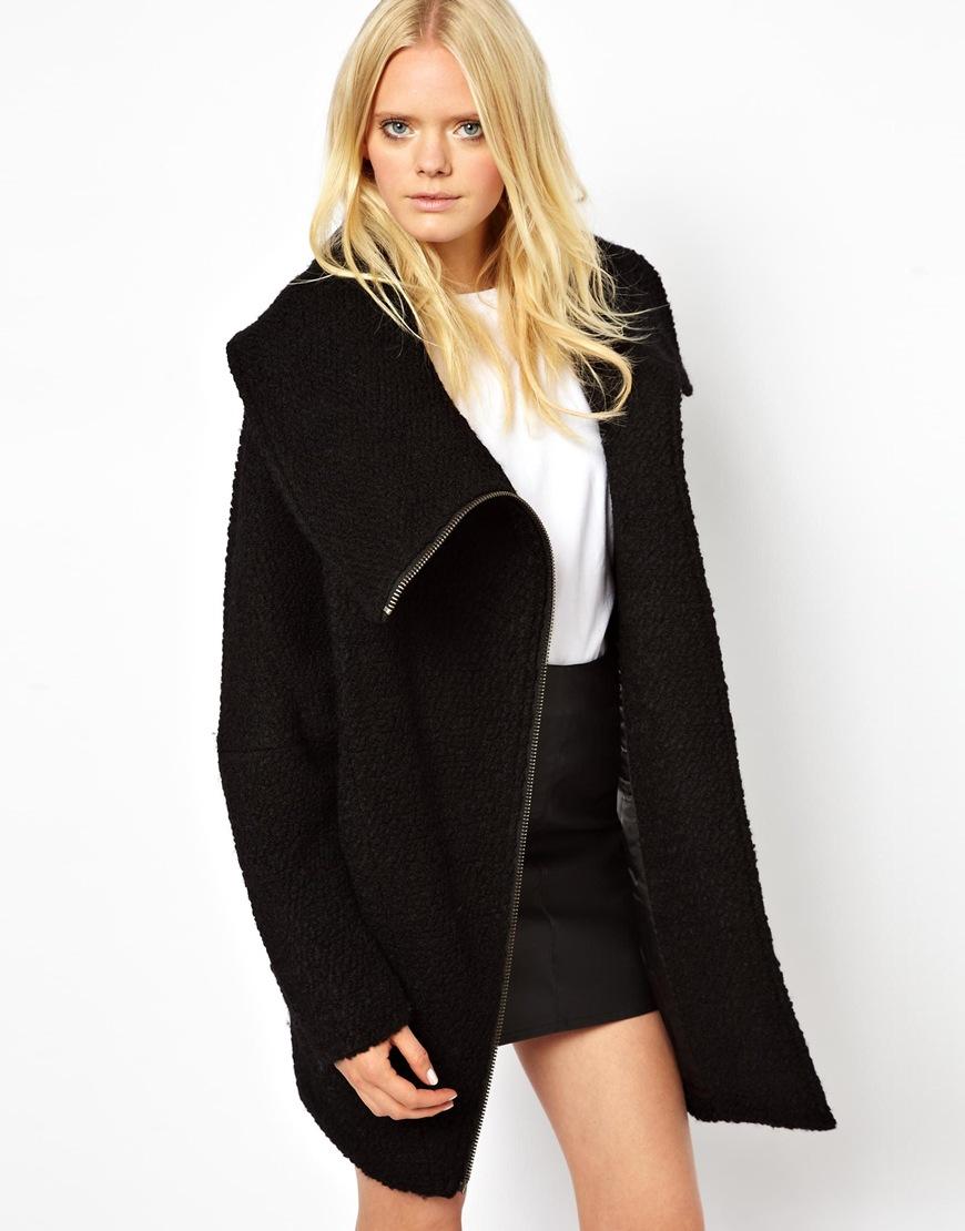 Just female Wool Zip Coat in Black | Lyst