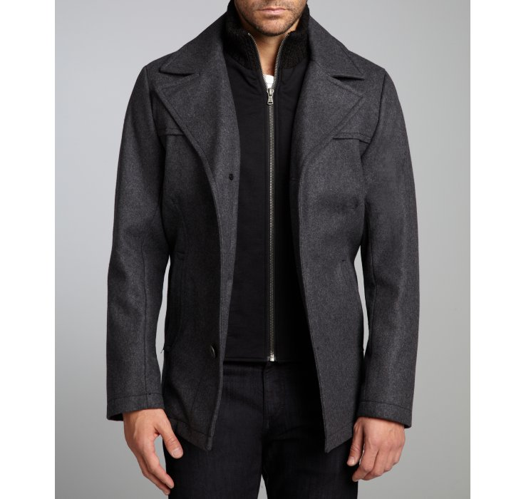 Kenneth cole Graphite Woolblend Woven Single Breasted Peacoat in ...