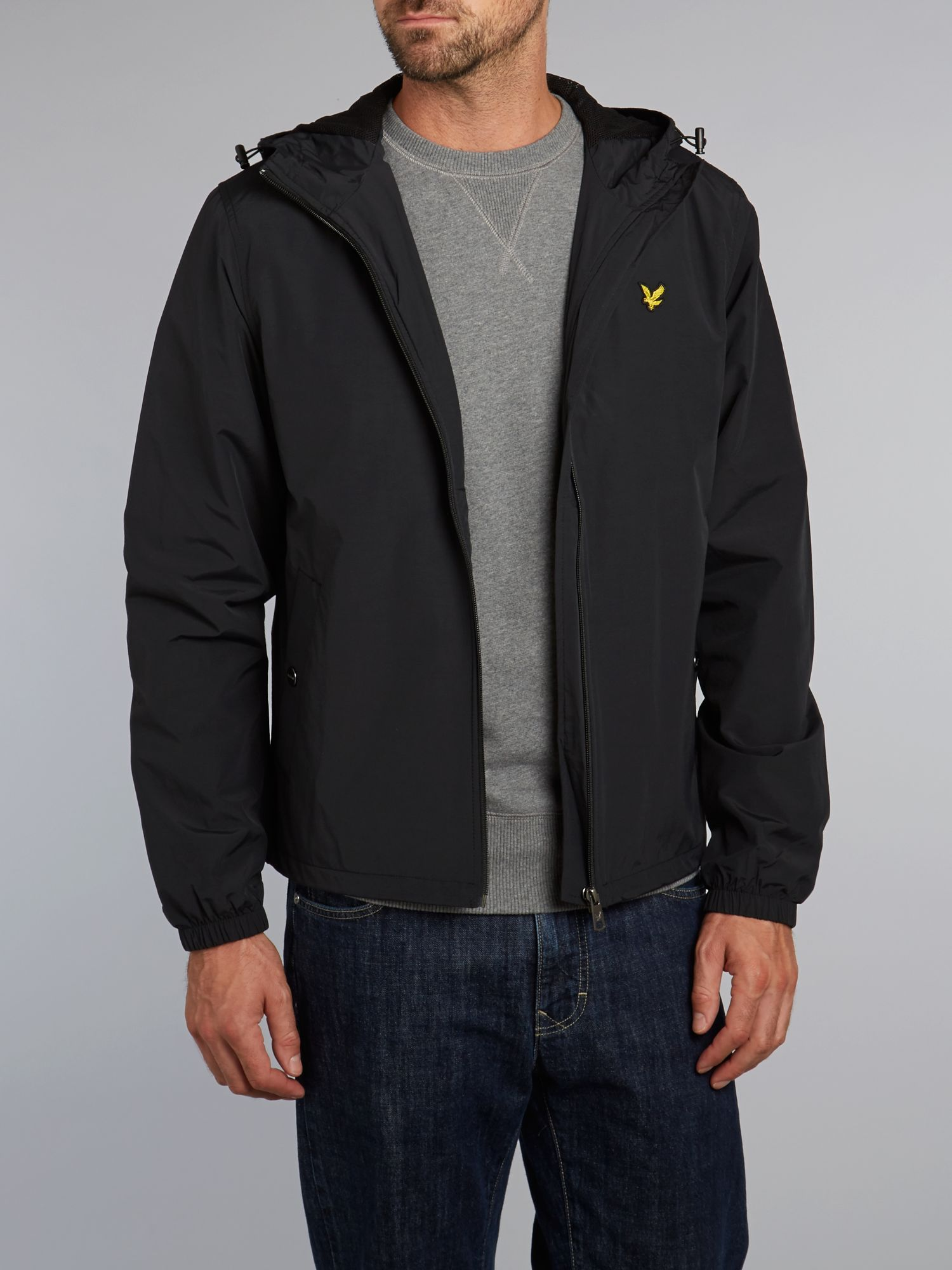 lyle scott zip through hooded jacket in black for men lyst. Black Bedroom Furniture Sets. Home Design Ideas