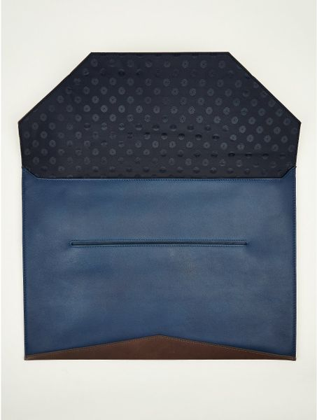 paul smith mens leather envelope document holder in blue With envelope document holder