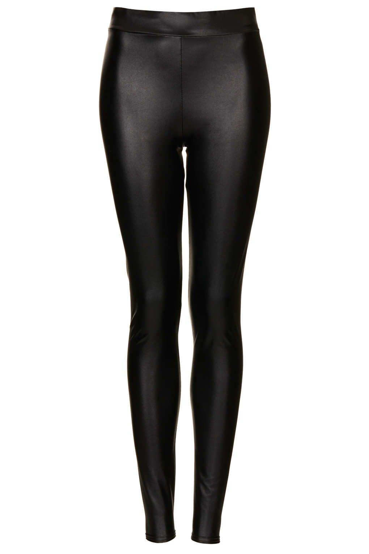 Topshop Textured Leather Look Leggings in Black
