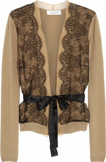 Valentino Lace-trimmed Chiffon and Wool-blend Cardigan - Lyst