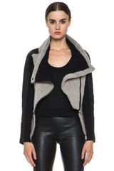 Yigal Azrouel Shearling Leather Jacket - Lyst