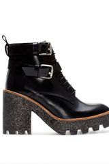 Zara Leather Track Ankle Boot