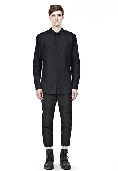 Alexander wang classic collar shirt with hidden snap for Mens shirts with snaps instead of buttons