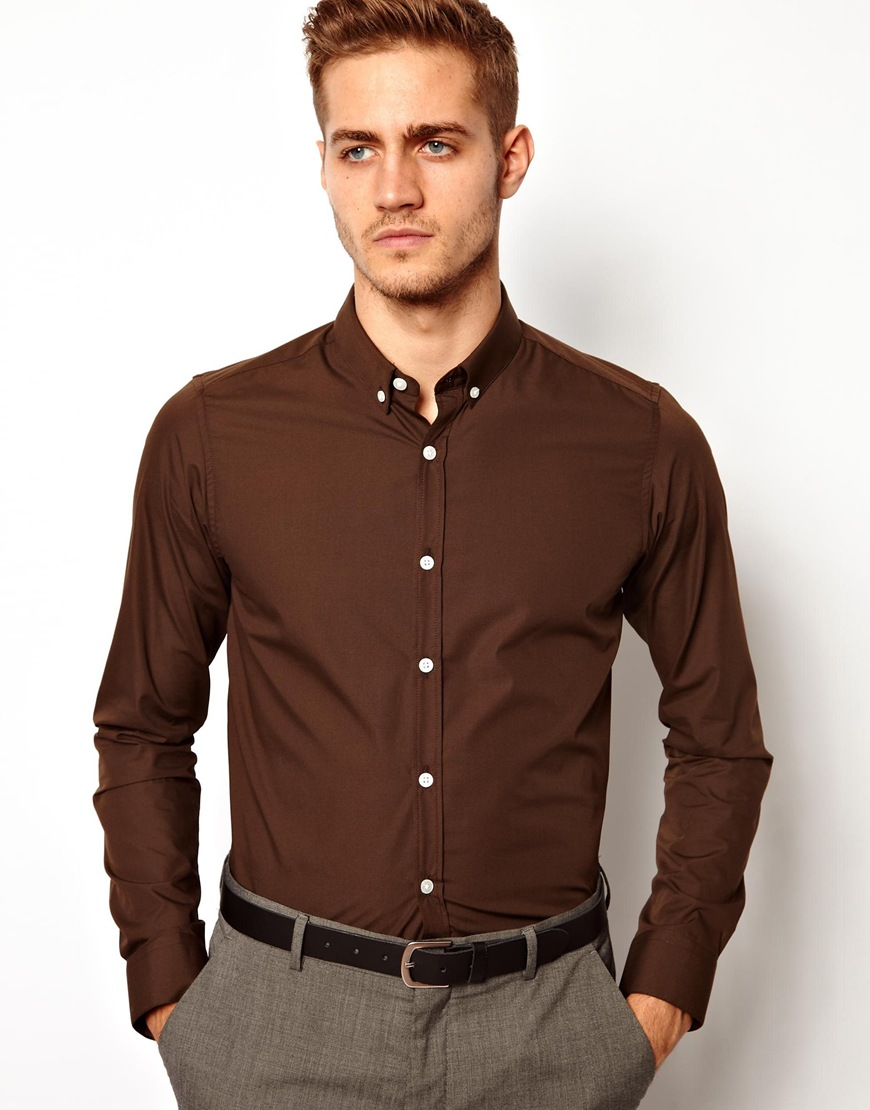 Asos Smart Shirt with Button Down in Brown for Men | Lyst