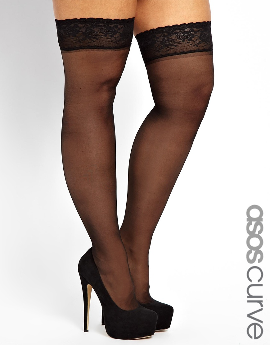 Asos Curve Lace Hold Ups in Black