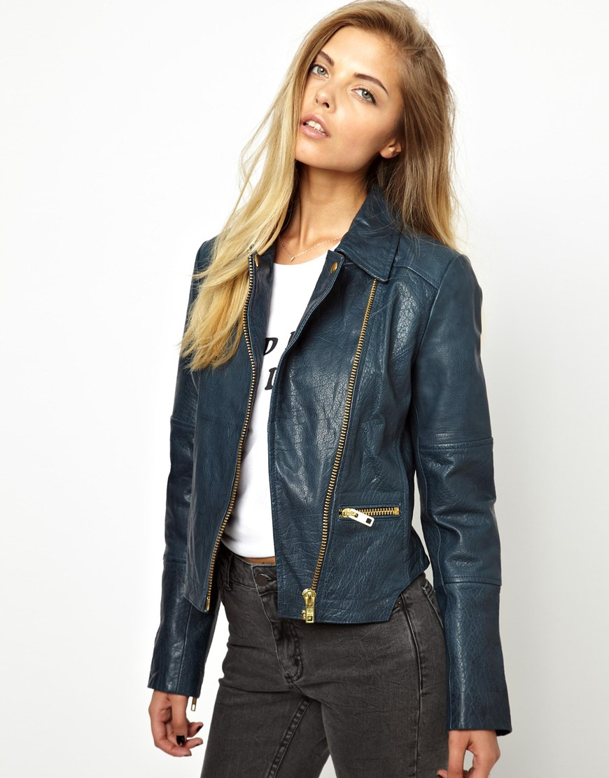 Asos Curved Hem Leather Jacket in Blue | Lyst