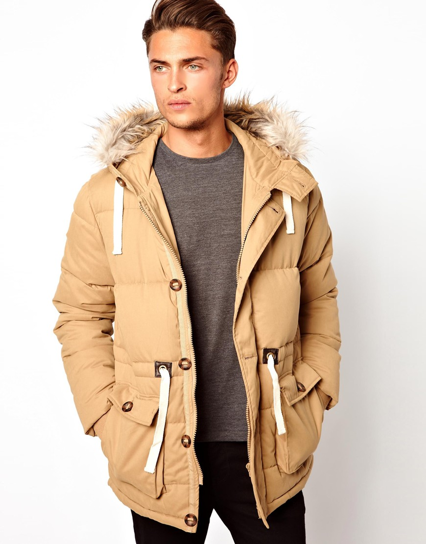Asos Quilted Arctic Parka in Natural for Men | Lyst