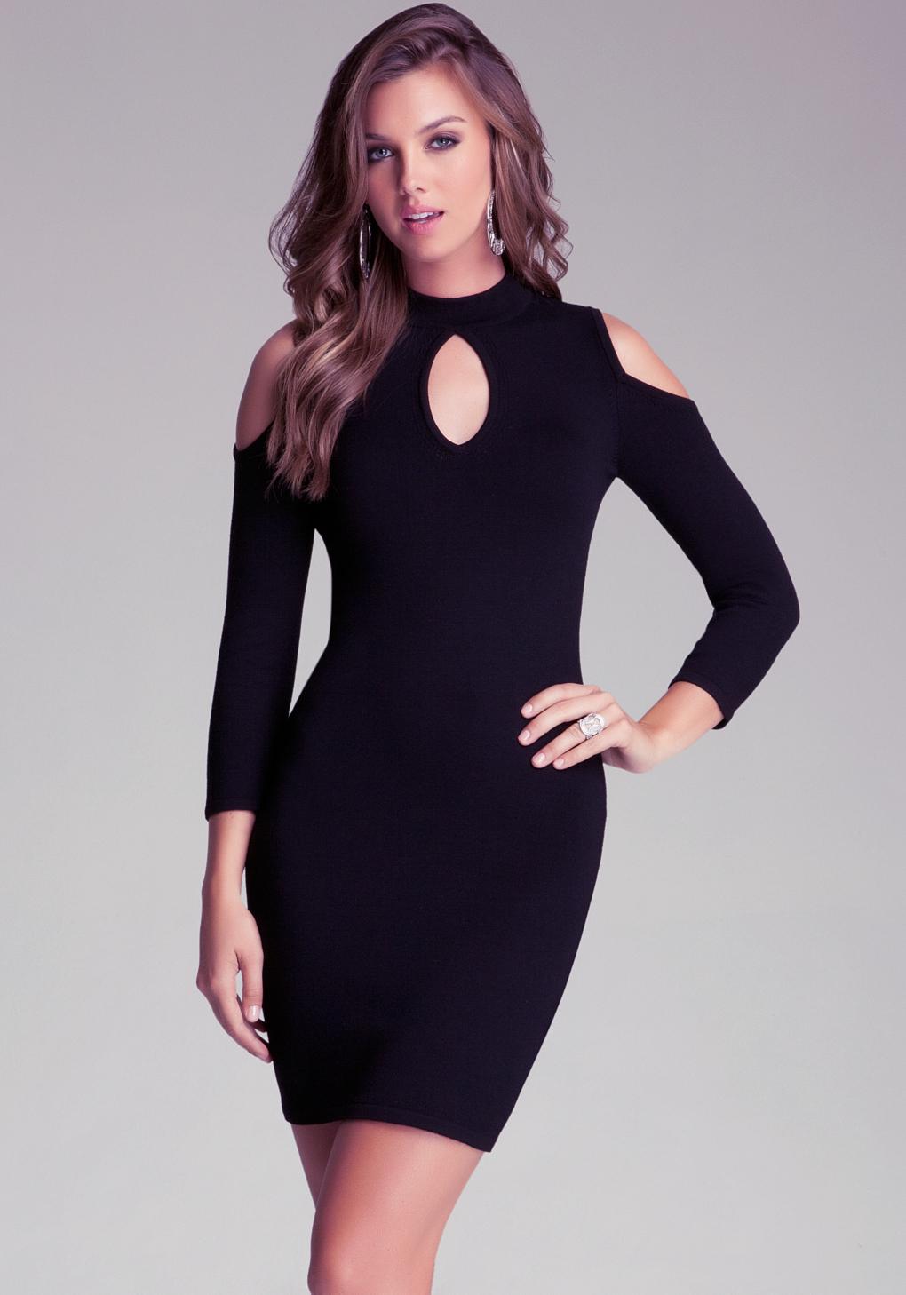 Bebe Cold Shoulder Keyhole Dress In Black Lyst