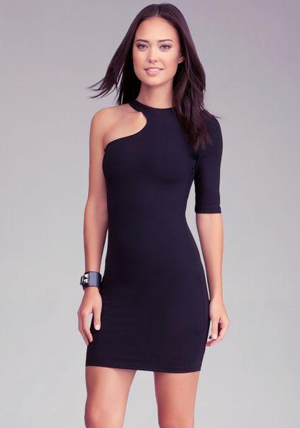 Bebe Cutout One Sleeve Bodycon Dress In Purple Lyst