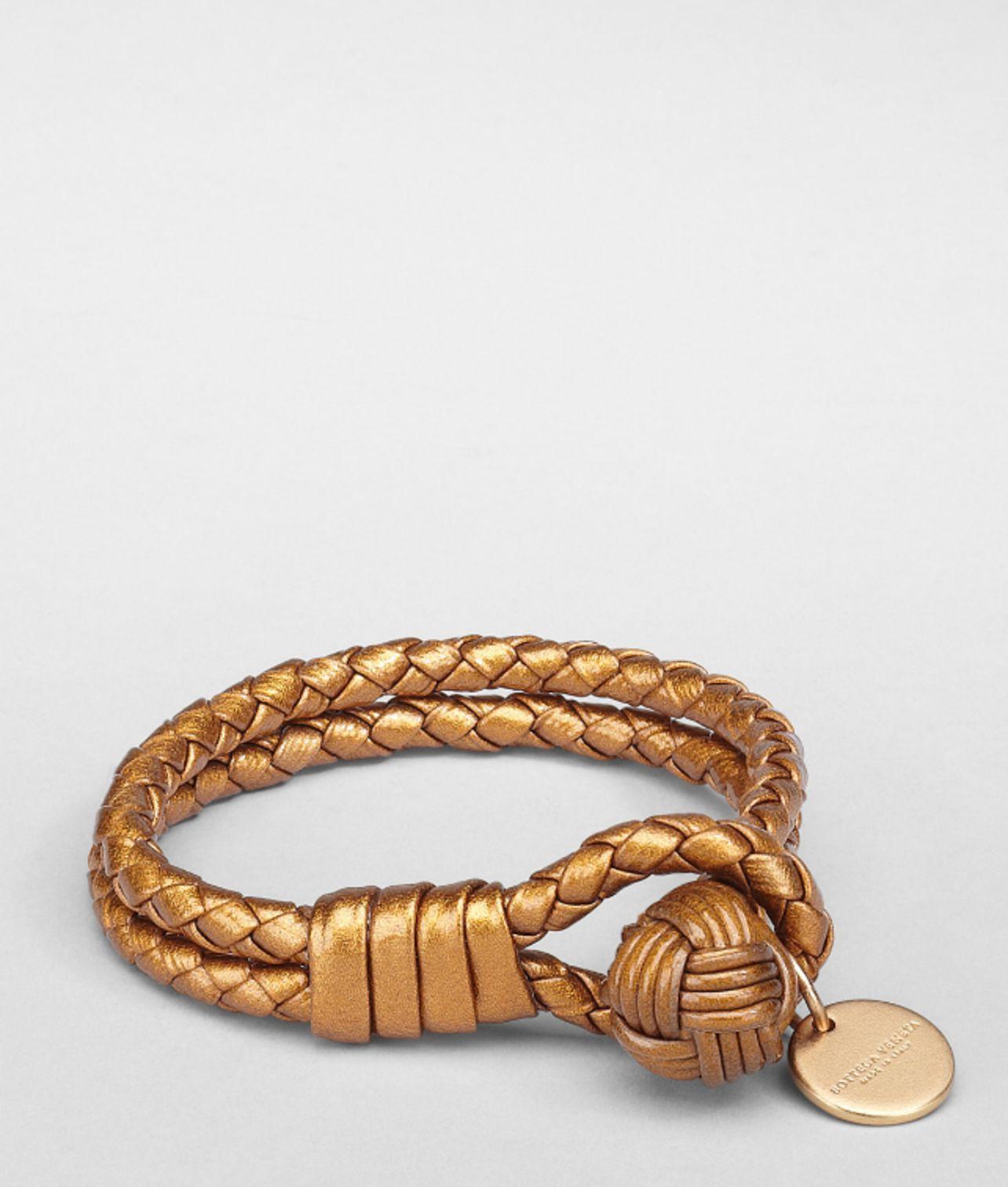 Bottega Veneta Oro Bruciato Intrecciato Nappa Bracelet In