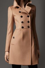 Burberry Pleat Detail Wool Cashmere Coat - Lyst