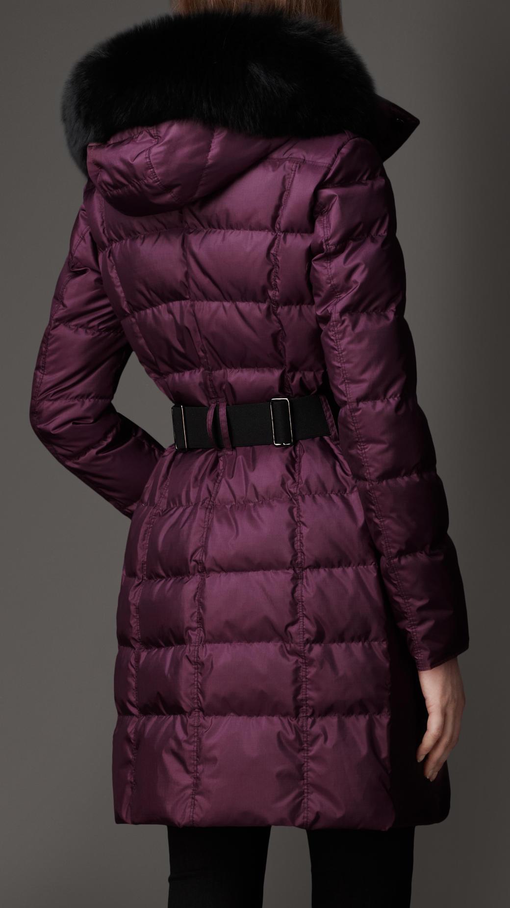 Lyst Burberry Fur Trim Puffer Coat In Purple