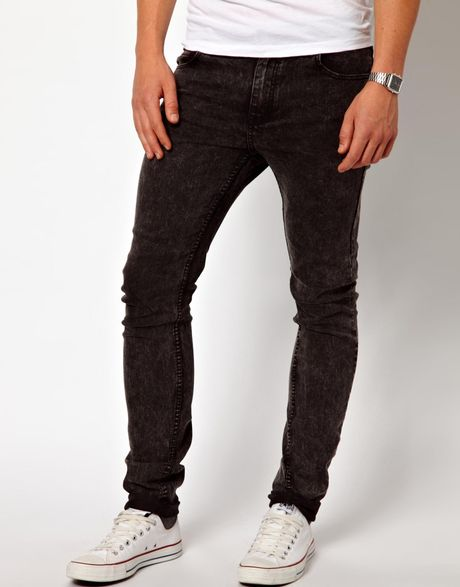 cheap monday jeans tight skinny fit in washed black in. Black Bedroom Furniture Sets. Home Design Ideas