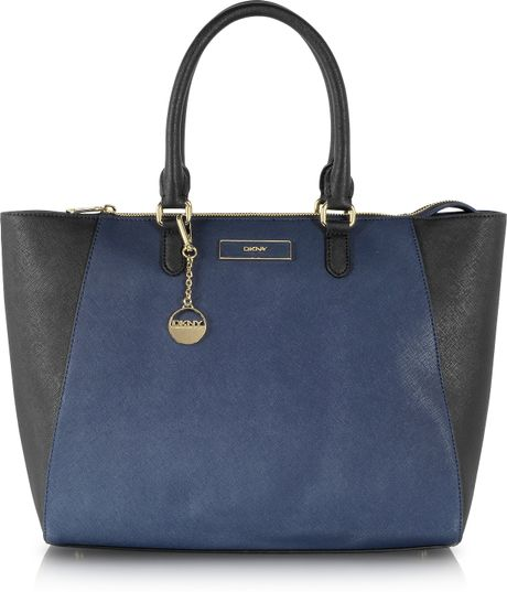 Dkny Color Block Saffiano Leather Large Ew Satchel in Blue (Navy Blue)