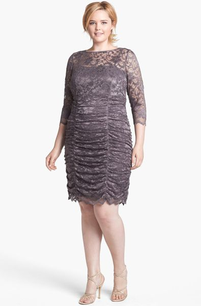 Eliza J Ruched Lace Dress In Gray Grey Lyst