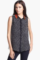 Elizabeth And James Julian Sleeveless Silk Blouse - Lyst
