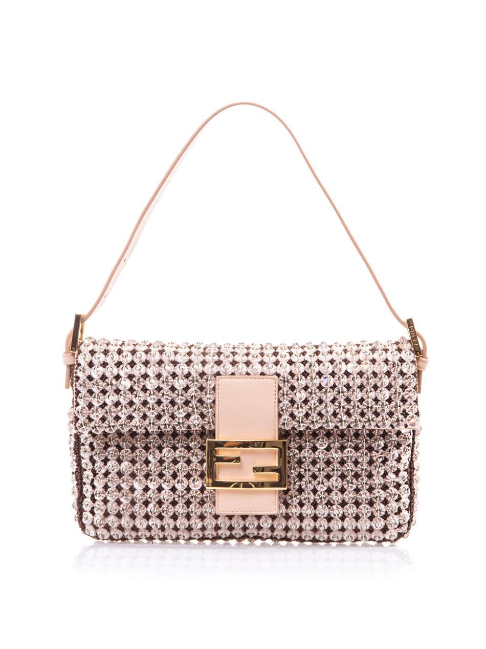 5eeed3bde68b ... italy lyst fendi crystal embellished baguette bag in metallic f5689  e181d