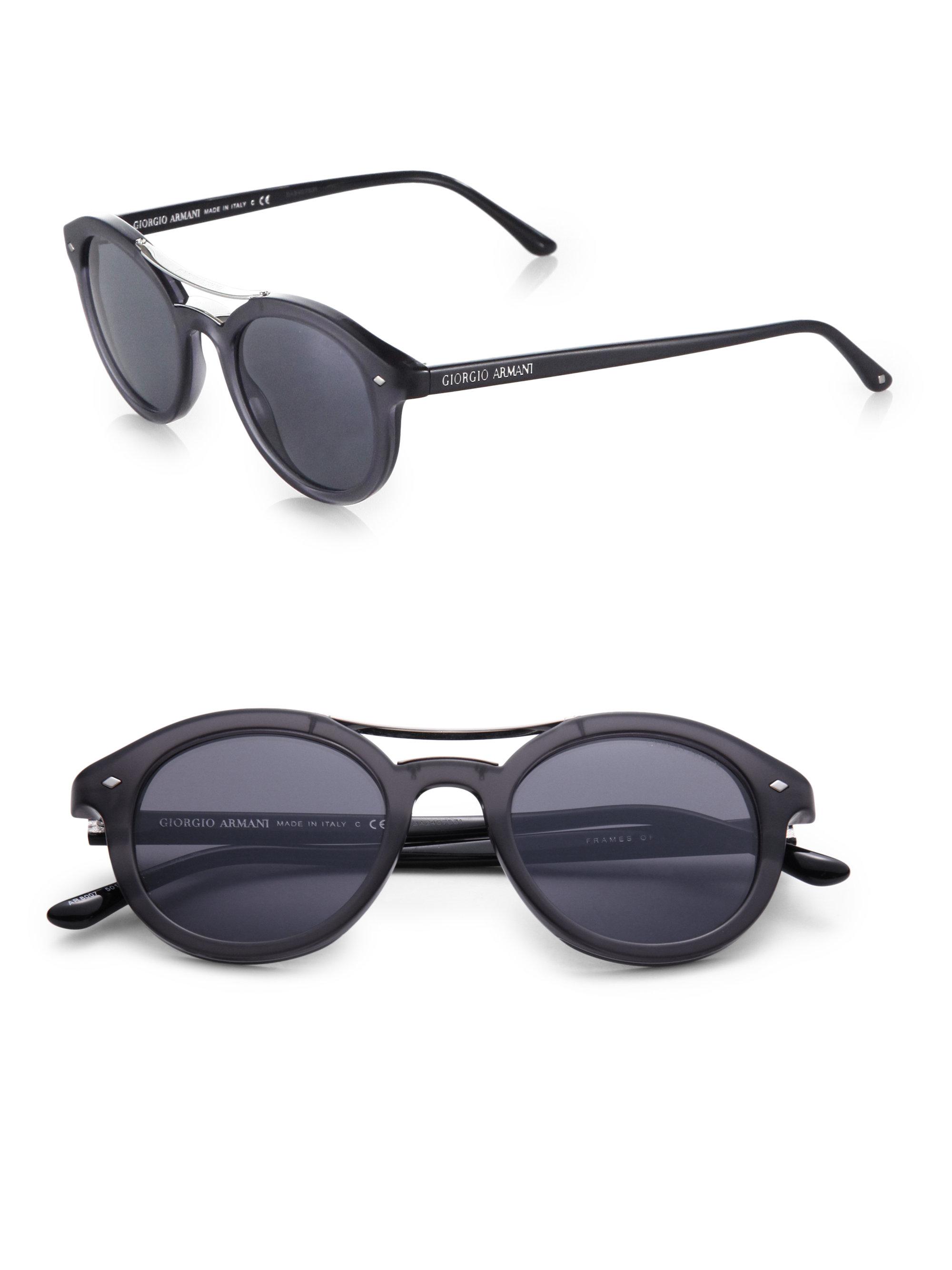ae14e9eba43 Giorgio armani Round Brow Bar Sunglasses in Gray for Men