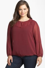 Halogen Illusion Dot Peasant Blouse - Lyst