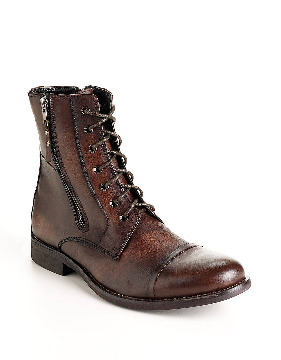 kenneth cole reaction hit leather boots in brown for