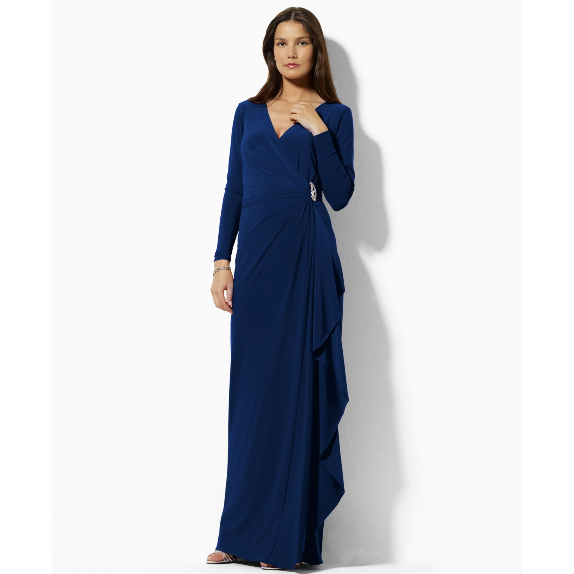 Lyst - Lauren By Ralph Lauren Lauren By Ralph Lauren Dress Long Sleeve Evening Gown In Blue
